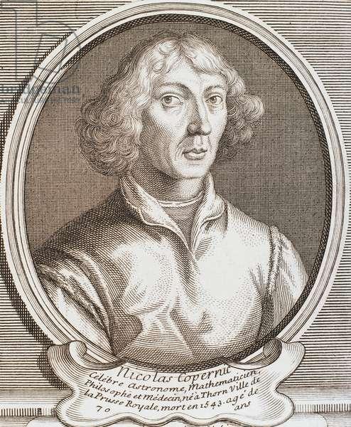 Portrait of Mikolaj Kopernik known as Nicolaus Copernicus (Torun, 1473-Frombork, 1543), Polish astronomer, engraving.