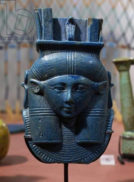 Fragment of sistrum depicting Goddess Hathor, glazed pottery, Egyptian civilization, Late Period, Dynasty XXVI, also known as Saite Period
