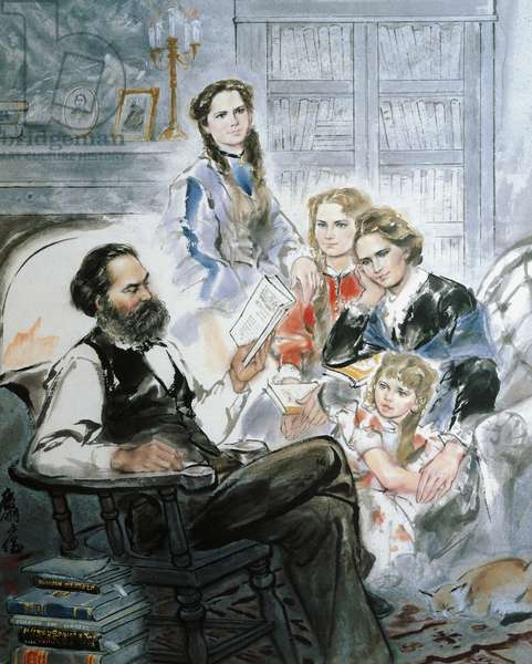 Karl Marx and his family (watercolour)