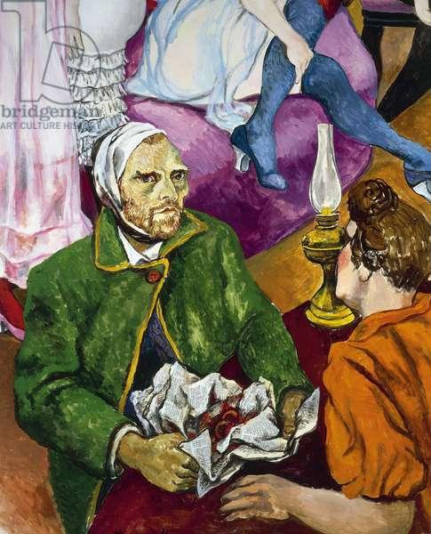 """The painter Vincent Van Gogh brings his cut ear to the brothel of Arles"" (detail) 1978 (painting)"