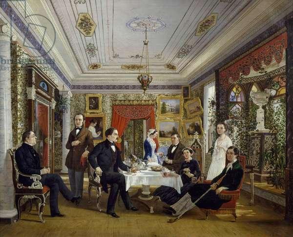 The Tarnovskj family drinking tea at table, 1851, by Aleksej Voloskov (1822-1882), oil on canvas