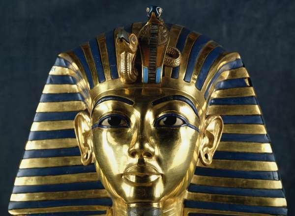 Funerary mask of Tutankhamun, gold, lapis lazuli, carnelian, quartz, obsidian, turquoise and glass paste, from Tomb of Tutankhamun, Egyptian civilization, New Kingdom, Dynasty XVIII, Detail of face