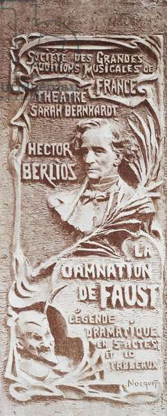 Poster for The damnation of Faust, by Hector Berlioz Louis (1803-1869) performed at the Sarah Bernhardt Theatre in Paris, May 7, 1903.