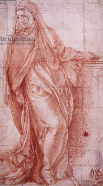 The Lady of Annunciation by Jacopo Carucci, known as Pontormo (1494-1557), preparatory drawing for Annunciation, ca 1527