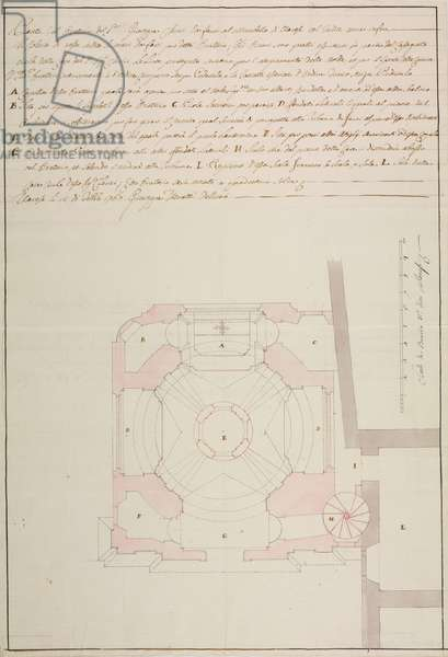 Design for Oratory of Giuseppe Clerici at Villa Mirabello, Varese, parish of Varese, February 15, 1767, Cardinal Giuseppe Pozzobonelli, drawing by Giuseppe Veratti, plan and key, Italy, 18th century