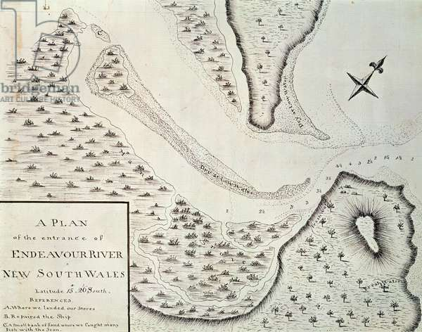 Map of entrance of Endeavour River, map from account of first trip led by James Cook (1728-1779) between 1768 and 1771, Australia, 18th century