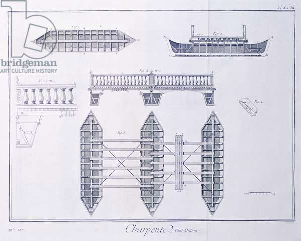 Plate showing a military bridge, Engraving from Denis Diderot, Jean Baptiste Le Rond d'Alembert, L'Encyclopedie, 1751-1757 Entitled Charpenterie (Carpentry)
