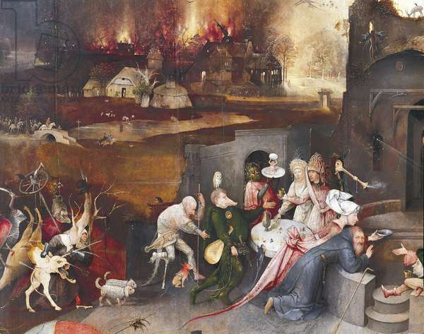 Left panel of Temptation of St Anthony Triptych, by Hieronymus Bosch (circa 1450-1516)