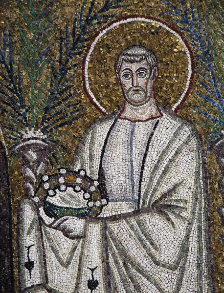 St Clement, detail from the Saints Procession, mosaic, south wall, lower level, Basilica of Sant'Apollinare Nuovo (UNESCO World Heritage List, 1996), Ravenna, Emilia-Romagna. Italy, 6th century.