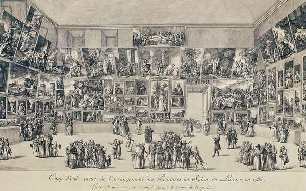 View of layout of paintings in hall of Louvre, 1785, engraving, France, 18th century