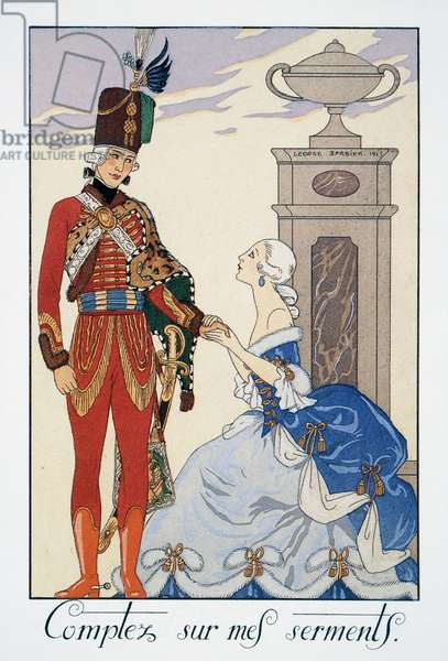 Comptez sur mes serments (I'll be faithful to you), Hungarian hussar, lithograph by George Barbier (1882-1932), from Falbalas et Fanfreluches, Almanach des Modes Presentes, Passees et Futures, 1925, France, 20th century