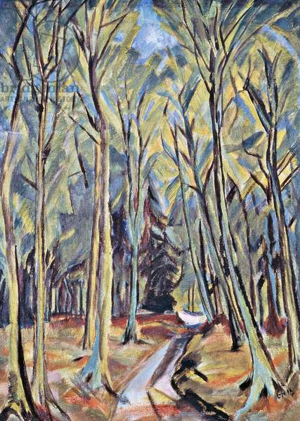 Path in the forest, 19145, by Erich Heckel (1883-1970), oil on canvas. Germany, 20th century.