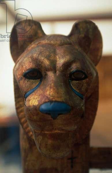Funerary headboard in the shape of lioness, from the Treasure of Tutankhamun, Egyptian civilization, XVIII Dynasty
