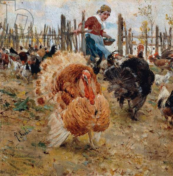 Meal of turkey, 1880-1885, painting by Raffaello Sorbi (1844-1931), oil on panel, 14.5x15 cm, Italy, 19th century