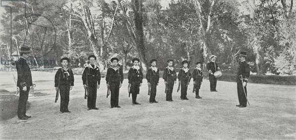 King Alfonso XIII (1886-1941) at military exercises amongst youths of Spanish nobility, Spain, photo by Franzen, from L'illustrazione Italiana, Year XXIX, No 21, May 25, 1902
