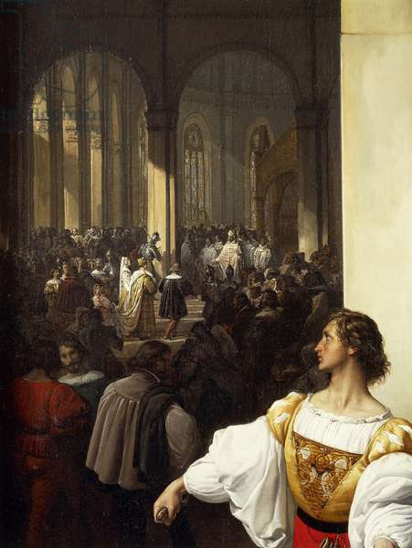 The conspiracy of Lampugnani, 1826-1829, by Francesco Hayez (1791-1882), oil on canvas, 149x117 cm, detail
