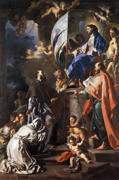St Bonaventure Receiving Banner of St Sepulchre from Madonna, by Francesco Solimena (1657-1747), Cathedral of San Paolo, Aversa, Campania, Italy, 17th-18th century