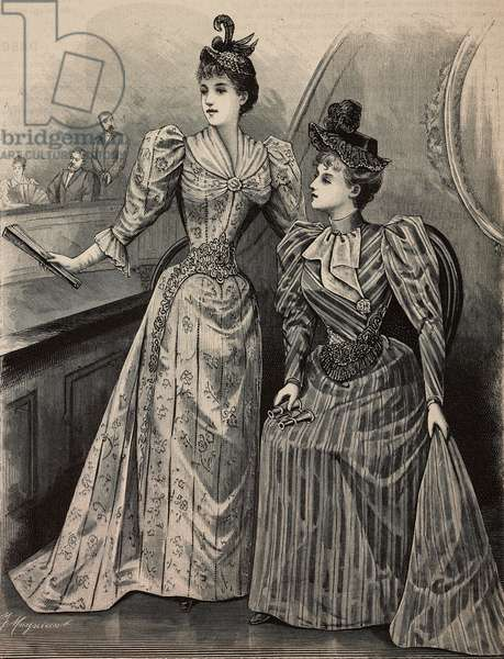 Evening at the theatre: women wearing Pompadour mohair dress and blue silk pekin dress, creations by Madame Gradoz, engraving from La Mode Illustree, n 7, February 12, 1893, Paris