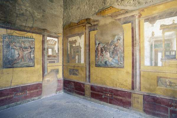 Frescoes on walls of House of Vettii, Pompeii (Unesco World Heritage List, 1997), Campania, Italy, Roman civilization, 1st century