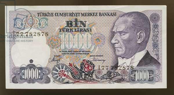 10000 lirasi banknote, 1980-1989, obverse, portrait of Mustafa Kemal Ataturk (1881-1938), Turkey, 20th century