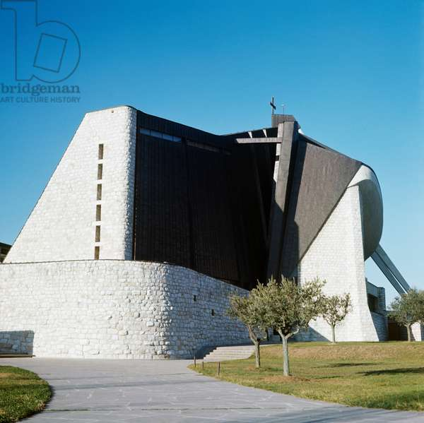 San Giovanni Battista Church of the Motorway, by Giovanni Michelucci (1891-1990), Limite di Campi Bisenzio, Tuscany, Italy, 1964