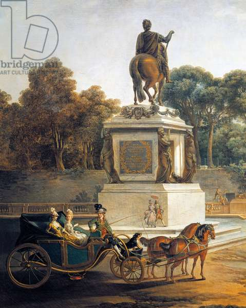 The entrance to Tuileries with statue of Louis XV and carriage,1775, by Jean Baptiste Le Prince (1734-1781)