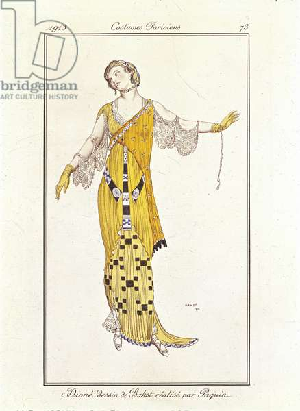 Women's fashion plate depicting dress designed by Bakst and made by Paquin, 1913