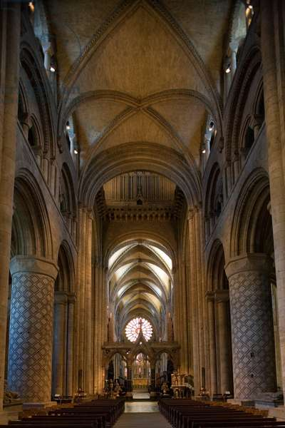 The central nave of Durham cathedral (11th-12th century) Durham (Unesco World Heritage List, 1986), Durhamshire, United Kingdom
