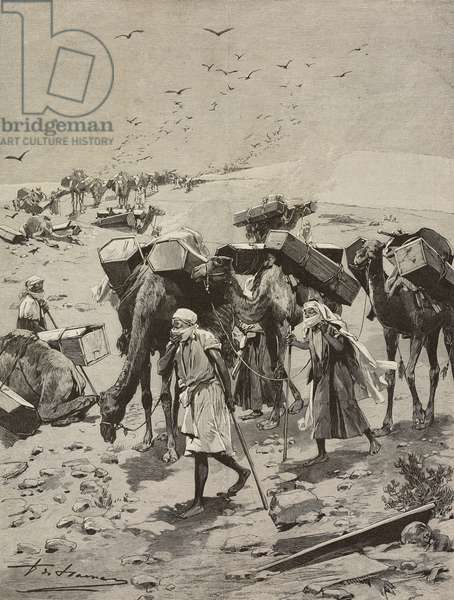 Transporting Muslim corpses to Mecca, Saudi Arabia, illustration from L'Illustration, No 2632, August 5, 1893