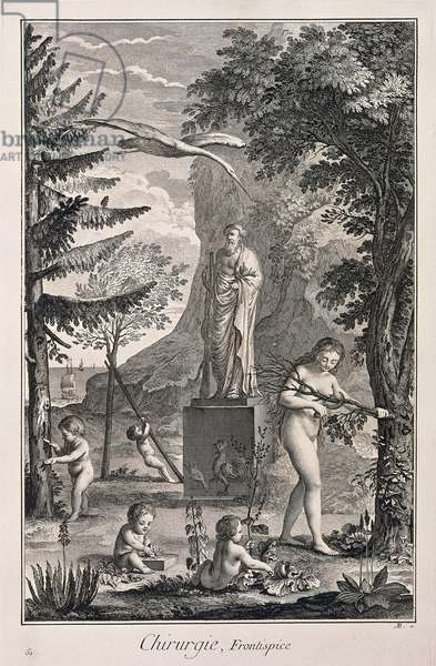 Plate showing allegory of surgery, frontispiece, Engraving from Denis Diderot, Jean Baptiste Le Rond d'Alembert, L'Encyclopedie, 1751-1757 Entitled Chirurgie (Surgery)