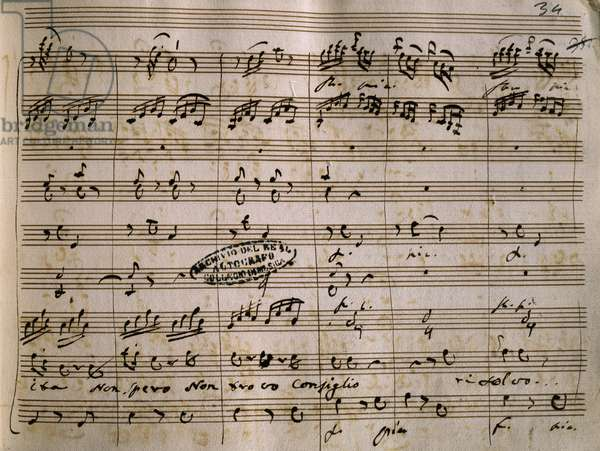 Autograph music score of La Daunia Felice, by Giovanni Paisiello (1740-1816)