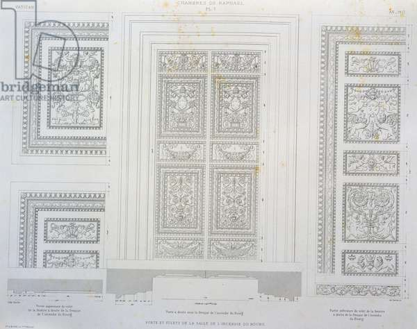 Doors and shutters of Room of Fire in Borgo, engraving from The Vatican and St Peter's Basilica, 1882, by Paul Marie Letarouilly (1795-1855), Volume II, Raphael Rooms, Plate 7