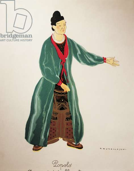 Costume for the people from Turandot by Giacomo Puccini, sketch by Umberto Brunelleschi (1879-1949) for the first performance of the opera at the Teatro alla Scala in Milan, April 25, 1926. 20th century