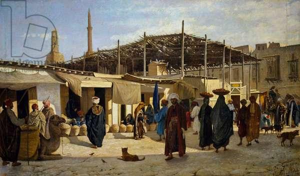 Arab market, 1873, painting by Marco de Gregorio (1829-1876), 57x97 cm