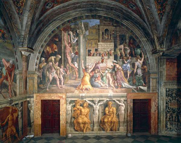 Fire in the Borgo, 1514-1517, workshop of Raphael (1483-1520), fresco, Room of the Fire in the Borgo, Apostolic Palace, Vatican City