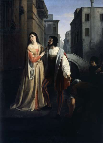 Bianca Cappello leaves family home, 1840-1860, by Andrea Appiani Younger (1817-1865), Oil on canvas, 144.5x200 cm