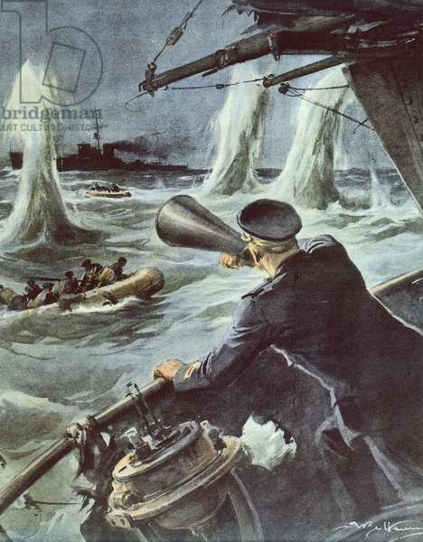 Clash between small torpedo boat and British cruiser in Sicilian Channel, October 20, 1940, by Achille Beltrame (1871-1945), illustration from La Domenica del Corriere, World War II, Italy, 20th century