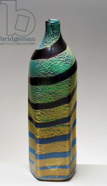 Pentagonal-shaped bottle with spiral decoration, 1950, AVEM (Arte Vetraria Muranese), Giulio Radi (1895-1952), Italy, 20th century