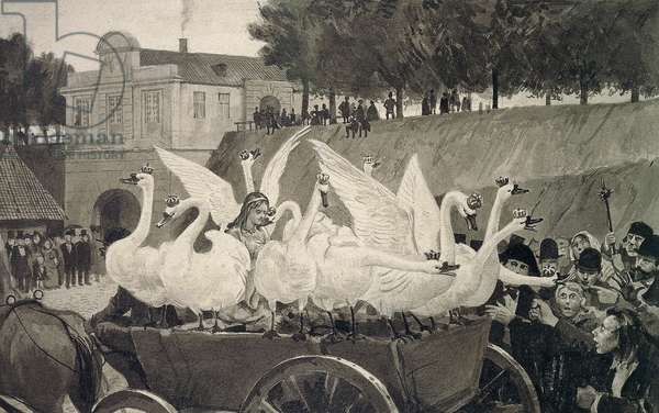 Wild Swans, illustration by Hans Tegner (1853-1932) for fairy tale by Hans Christian Andersen (1805-1875)