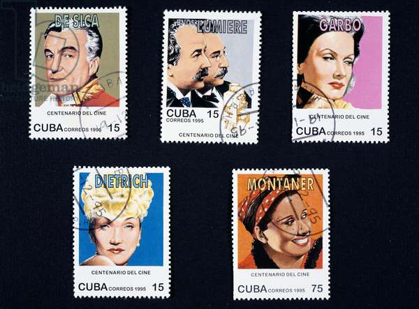 Postage stamps from series commemorating Centenary of cinema, 1995, depicting: Vittorio De Sica, Lumiere brothers, Greta Garbo, Marlene Dietrich, Rita Montaner, Cuba, 20th century