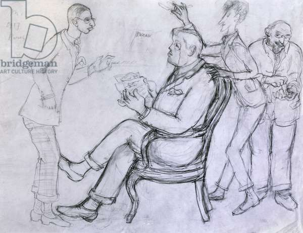 Caricature of Sergej Pavlovic Djagilev, called Serge, organizer and artistic director of Russian ballets, Igor Fedorovic Stravinskij, Russian composer, Jean Cocteau, French poet, novelist and playwright and Erik Satie, French composer and pianist