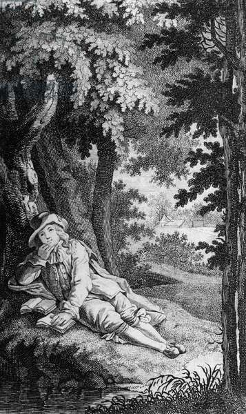 German philosopher and mathematician Gottfried Wilhelm Leibniz (1646-1716) in Rosenthal wood, near Leipzig, engraving, Germany, 18th century