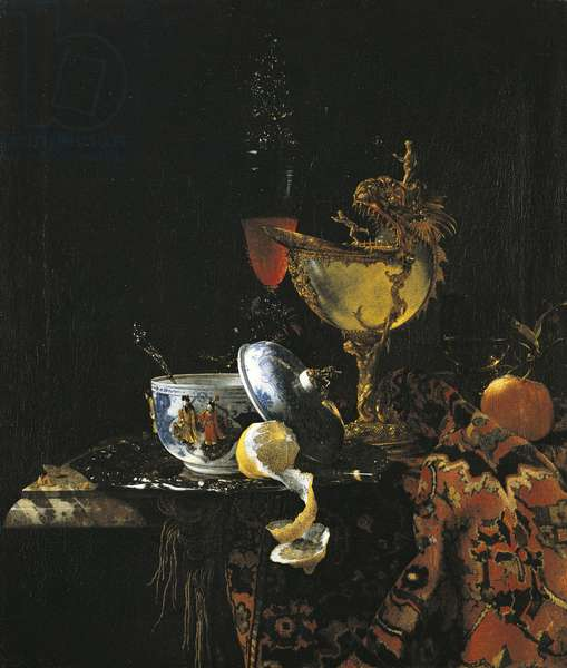 Still Life with a Chinese Bowl, a Nautilus Cup and other Objects, 1662 (oil on canvas)