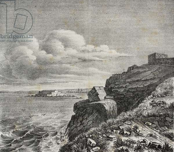 Tomb for Francois-Rene de Chateaubriand in Saint-Malo, France, lithograph by Gaetano Riccio from Poliorama Pittoresco, n 32, March 18, 1843