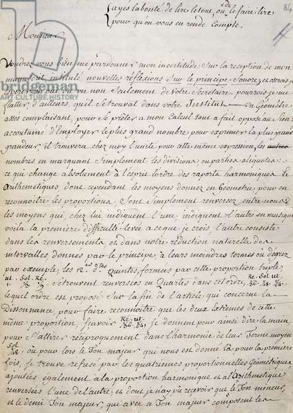 Handwritten letter by Jean-Philippe Rameau (1683-1764), French composer, harpsichordist, organist and music theoretician