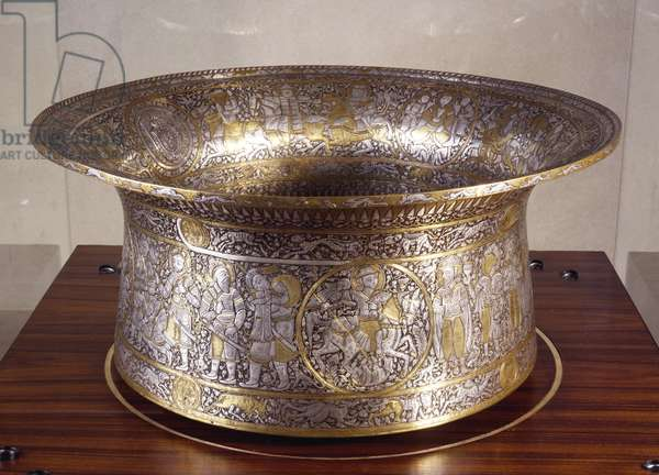 St Louis' basin or baptismal font, signed Ibn Zayn, brass, silver and gold. Egypt or Syria, 13th century.
