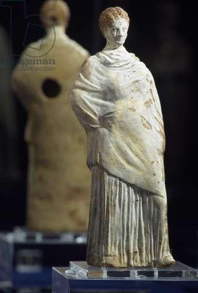 Standing Female Figure, 250-200 BC, terracotta statue, Egyptian Civilisation, Ptolemaic Period, 3rd century BC