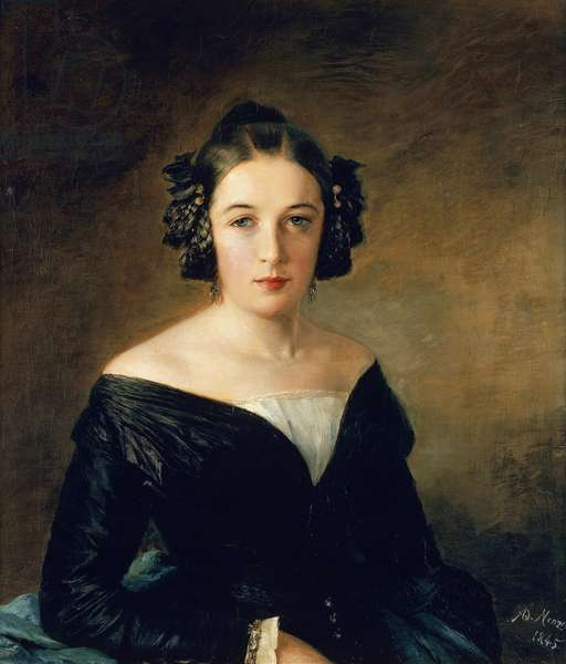 Portrait of Friederike Arnold, 1845, by Adolph Menzel (1815-1905), oil on cardboard.