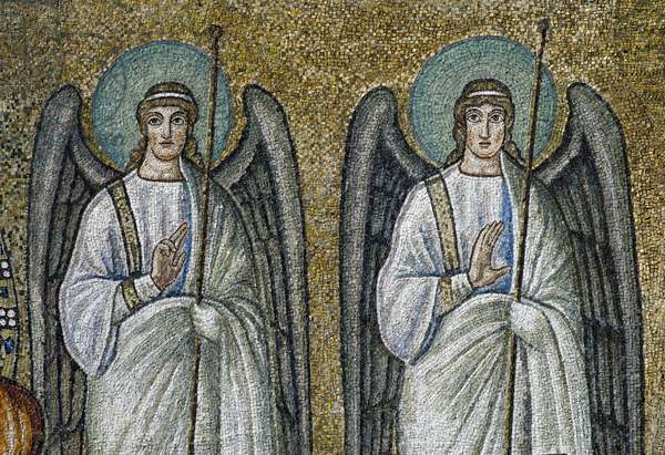 Basilica of Sant'Apollinare Nuovo, Presbytery, Detail of mosaics representing angel figures, Ravenna, Emilia-Romagna, Italy