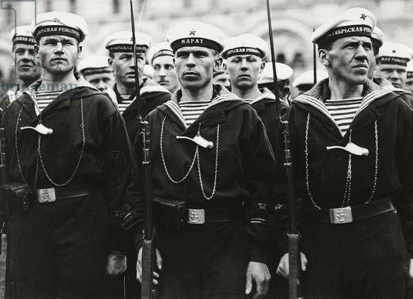 Sailors of Mapat battleship in Petrograd, 1917, Russian Revolution